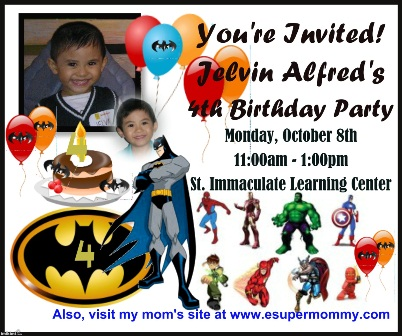 kid's birthday party invitation batman