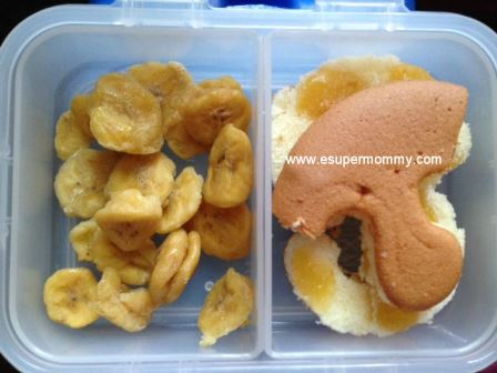 School Baon: Mamon and Dried Bananas bento