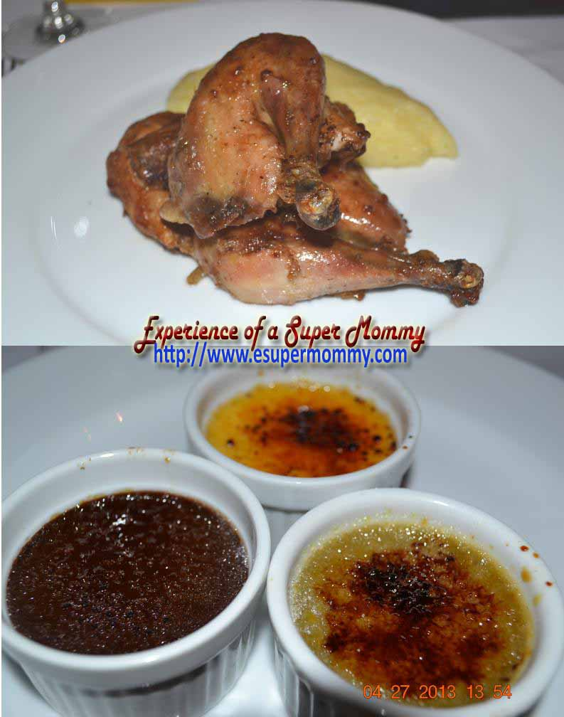 Roasted Coquelet  with Rosemary and Garlic  served with Mashed Potato