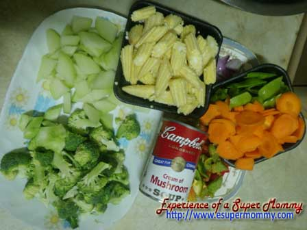 Creamy Chopsuey ingredients