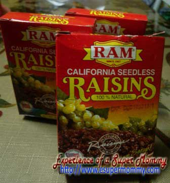 raisins snack for kid's calorie boosting