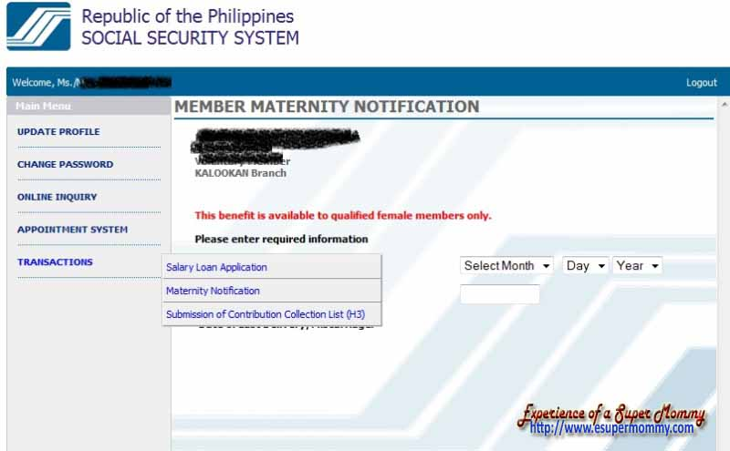 SSS member maternity notification application online