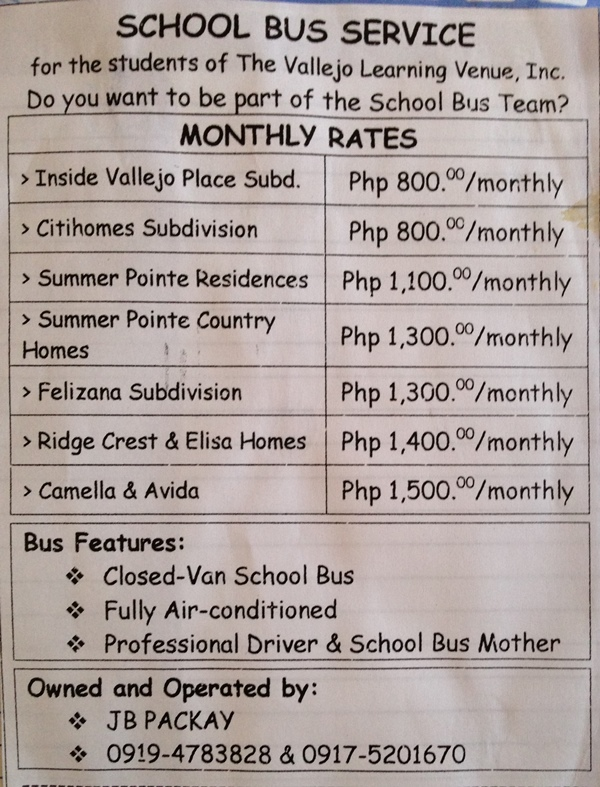 School Bus Service Monthly Rates