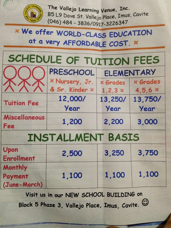 The Vallejo Learning Venue Inc Tuition Fees