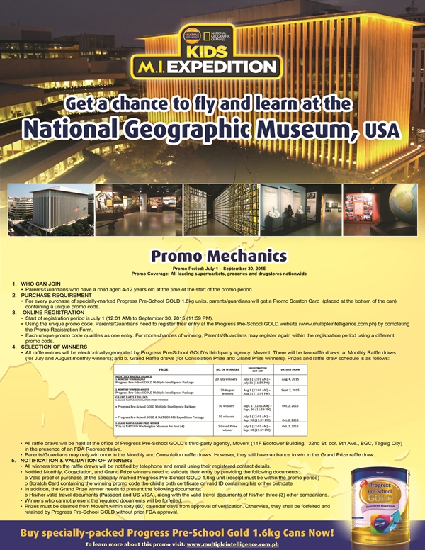 Progress Pre-School Gold and National Geographic Channel Philippines M.I. Expedition FLY and LEARN Promo Mechanics