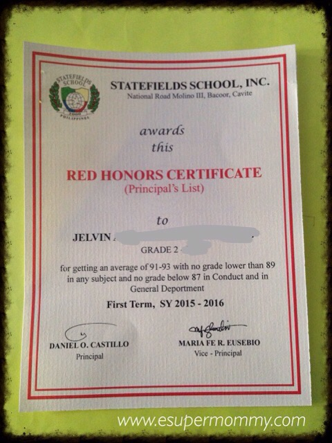 Statefields Honors Certificate