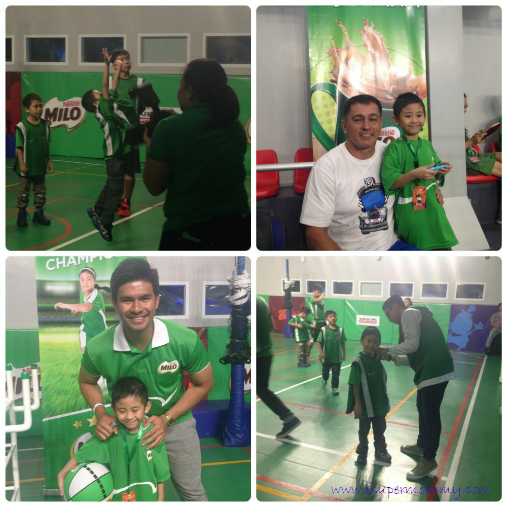 My son with Kiefer Ravena and Mr. Vince Hizon at the opening of Milo Stadium in KidZania Manila